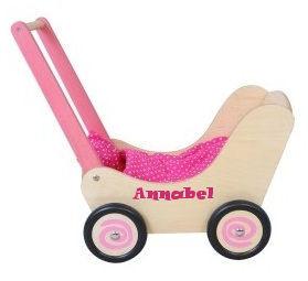 Poppenwagen hout/roze met naam