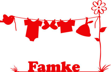 Waslijn Famke (Geboortesticker met naam)