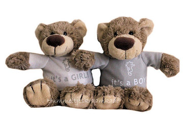 Bear Bella met naam No.1 (22 cm) It's a girl of It's a boy