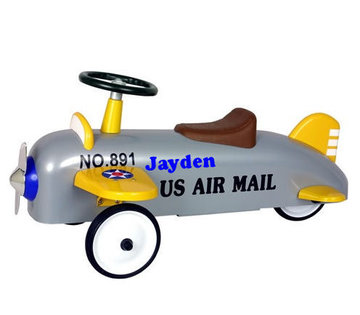 Loopvliegtuig zilver/geel flyer US Airmail