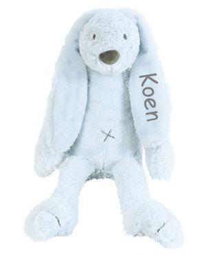 Rabbit Richie blauw knuffel met naam (Groot)