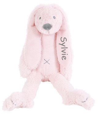 Rabbit Richie roze knuffel met naam (Groot)