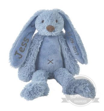 Rabbit Richie Deep blue knuffel met naam (Groot)