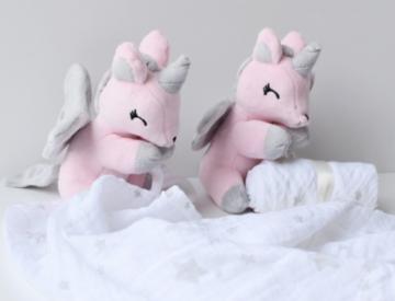 Unicorn Rose-grijs met Doek