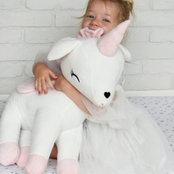 Unicorn Wit met rose XL