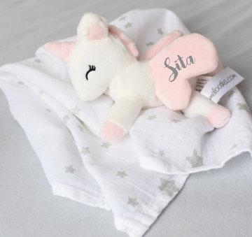 Unicorn liggend Wit-rose met Doek