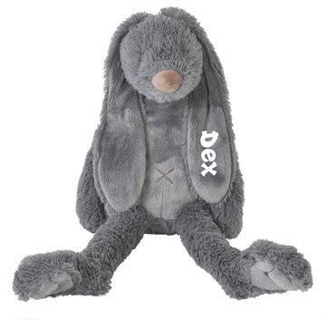 Rabbit Richie Deep grey knuffel met naam (Groot)