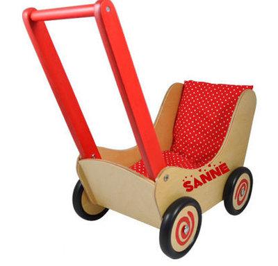 Poppenwagen rood met naam