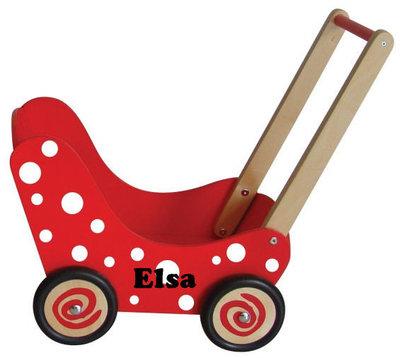 Poppenwagen rood/ witte stippen met naam