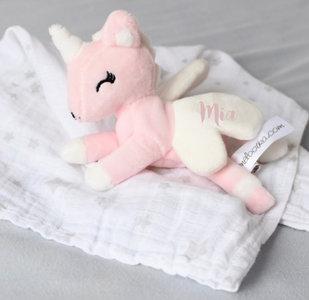 Unicorn liggend Rose-wit met Doek